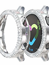 cheap -compatible with samsung galaxy watch active 2 case, double row diamond pc plating bumper bling crystal diamonds shiny glitter cover frame for women and girls (silver, galaxy watch active2/40mm)