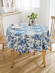 cheap -Table Cloth Cotton Dust-Proof Country Patterned Table Cover Table Decorations for Daily Wear Round 150*150 cm White 1 pcs