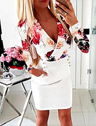 cheap -Women's A Line Dress Short Mini Dress Blue White Black Red Long Sleeve Print Ruched Button Print Fall Spring V Neck Elegant Sexy Going out Slim 2021 S M L XL XXL 3XL