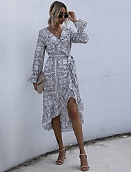 cheap -Women's Swing Dress Knee Length Dress - Long Sleeve Print Lace up Patchwork Print Fall Casual Flare Cuff Sleeve 2020 White Black S M L XL