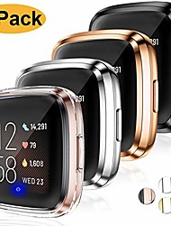 cheap -ultra thin hd case compatible with fitbit versa 2 screen protector case full protective cover for fitbit versa 2 smartwatch bands accessories 4 pack