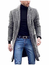 cheap -men winter trench coat Lapel Single Breasted Plaid slim fit turn down collar knit cuffs en coat business jacket overcoat