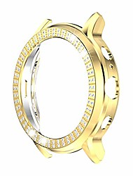 cheap -bling crystal diamonds plate case cover protective frame compatible with fossil gen5 carlyle watch (gold)