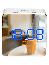 cheap -LED Light Mirror Alarm Clock with Dimmer Nap Temperature Function for Office Bedroom Travel Digital Clock Home Decor