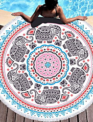 cheap -Vintage Pattern Round Beach Towel,Quick Dry Beach Towel Blanket Microfiber Yoga Mat with Tassels Ultra Soft Super Water Absorbent Multi-Purpose Towel 60 X 60Inch