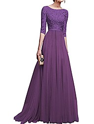 cheap -women's vintage floral lace 3/4 sleeves long cocktail bridesmaid maxi dress floor length retro formal wedding pageant evening prom party dance gown plus size v-neck pleated swing dress purple s