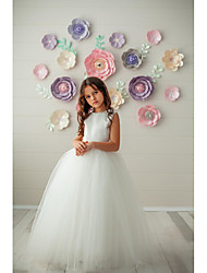 cheap -Princess / Ball Gown Floor Length Party / Wedding Flower Girl Dresses - Tulle Sleeveless Jewel Neck with Pleats / Solid