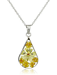 cheap -sterling silver orange pressed flower teardrop pendant necklace, 16""