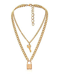 cheap -lock key pendant necklace statement long chain punk multilayer choker necklace for women men (gold tone)