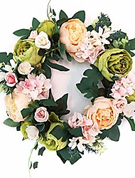 cheap -door wreath, artificial flowers peony wreath - four seasons front door decor with peony and green leaves, for front door living room wall garden wedding festival decor(40cm, champagne green)