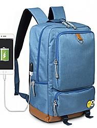 "cheap -college school backpack bookbag travel rucksack leather bottom 15"" laptop bag +usb charging port (blue)"