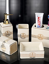 cheap -Bathroom Accessories Set 5 Piece Ceramic Complete Bathroom Set for Bath Decor Includes Toothbrush Holder Soap Dispenser Soap Dish 2 Mouthbrush Cup  Holiday Bathroom Decoration Gift Idea