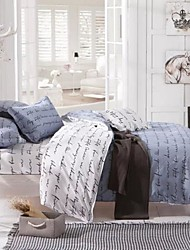 cheap -Duvet Cover Sets 3 Piece Rayon / Polyester Lines / Waves White Reactive Print Contemporary