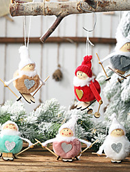 cheap -Christmas Decoration Plush Ball Doll Pendant Ski Snowman Small Hanging Christmas Tree Pendant