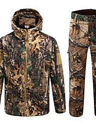 cheap -Men's Unisex Hunting Jacket with Pants Outdoor Thermal Warm Breathable Quick Dry Fall Winter Camo / Camouflage Spandex Polyester Taffeta Softshell Jungle camouflage / Micro-elastic