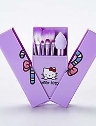 cheap -makeup brush set 8pcs cute kitty handle makeup brushes set pink kids make up sponge blush eyeshadow foundation powder kit with box (handle color : purple)