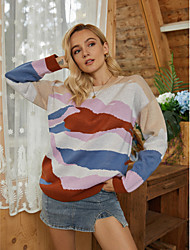 cheap -Women's Basic Knitted Geometric Sweater Long Sleeve Sweater Cardigans Crew Neck Round Neck Fall Winter Rainbow