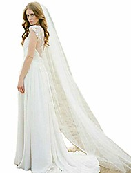 cheap -vanessawedding sheer tulle 1 tier long wedding bridal veils cathedral hair with comb for brides & #40;ivory& #41;