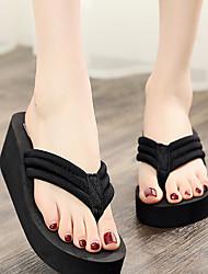 cheap -Women's Slippers & Flip-Flops Flip-Flops Wedge Heel Open Toe Sweet Boho Daily Home Polyester Color Block Black