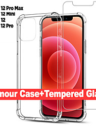 cheap -2 in 1 Slim Clear Soft TPU Silicone Cover For iPhone 12 Pro Max 12 Mini Case & Screen Protector Safety Glass For iPhone 11 Pro Max 11 Pro SE 2020 XS XS MAX XR 8 7 6 Plus