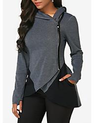 cheap -Women's Zip Up Hoodie Sweatshirt Solid Color Zipper Daily Casual Hoodies Sweatshirts  Dark Gray