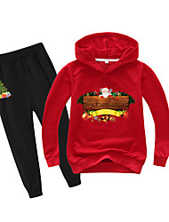 cheap -Kids Boys' Active Christmas Daily Wear Santa Claus Print Patchwork Print Long Sleeve Regular Clothing Set Red