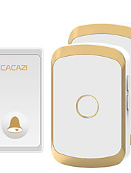 cheap -CACAZI Waterproof Wireless Doorbell Self-powered No battery LED Light Home cordless doorbell  1 Button 2 Receiver