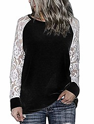 cheap -women lase blouse tops long sleeve t shirts lace oversize pullover tunic shirts (black 1, 3xl)