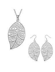 cheap -Women's Jewelry Set Bridal Jewelry Sets Cut Out Leaf Fashion Silver Plated Earrings Jewelry Silver For Christmas Wedding Halloween Party Evening Gift 1 set