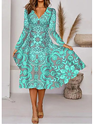 cheap -Women's A-Line Dress Midi Dress - Long Sleeve Floral Print Fall V Neck Elegant 2020 Green M L XL XXL 3XL