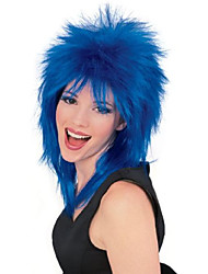 cheap -unisex adult rock star blue spiked wig party supplies, blue, one size us