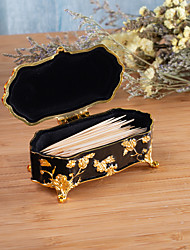 cheap -Floral Carved Cotton Swab Box Black and White Silver Plated Zinc Alloy Toothpick Storage for Household