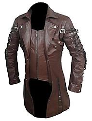 cheap -men's brown pu leathr goth matrix trench coat steampunk gothic coats