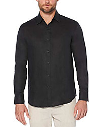 cheap -men's long sleeve linen tucking shirt, jet black, large