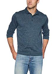 cheap -men's long sleeve flex sweater fleece melange polo, turquoise low tide, small