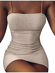 cheap -dress for women, fashion women sexy sequins camisole sleeveless strapless solid tight mini dress, womens dresses elegant (beige m)