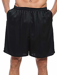 cheap -100% mulberry silk shorts for men, relaxed fitness wear, front pockets, elastic waist with gift box (navy blue, m)