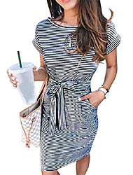 cheap -Women's A Line Dress Short Mini Dress TS-8044 light blue TS-8044 pink TS-8044 green TS-8044 black TS-8044 orange Short Sleeve Stripes Spring & Summer Casual 2021 S M L XL