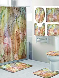 cheap -Autumn Leaves Pattern PrintingBathroom Shower Curtain Leisure Toilet Four-Piece Design