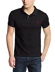 cheap -men's slim fit cotton slub solid polo, black, xx-large