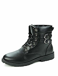 cheap -ankle boots for men retro round toe lace up synthetic leather high top solid colour shoes (color : black, size : 44 eu)