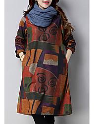 cheap -Women's A-Line Dress Knee Length Dress - Long Sleeve Print Patchwork Print Fall Winter Casual Cashmere Loose 2020 Black Orange M L XL XXL