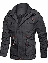 cheap -military Cotton Casual Stand Collar Windbreaker jacket bomber jacket for men winter jacket tactical jacket field jacket mens winter coat gray
