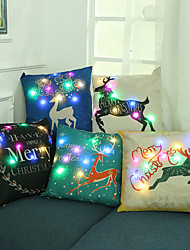 cheap -5pcs LED Pillowcase Christmas Gift Linen Painting Style with LED Color Lights Pillow Cover for Christmas Home Sofa Chair Decoration 45x45cm 18x18inch