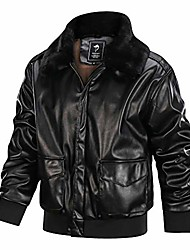 cheap -faux leathers men's air force a-2 leather flight bomber jacket (black-fur collar, xxl)