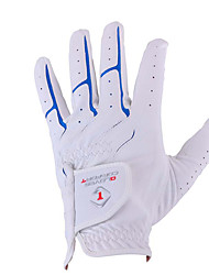 cheap -Golf Glove left Golf Full Finger Gloves Men's Anti-Slip UV Sun Protection Breathable PU Leather Microfiber Training Outdoor Competition White / Sweat wicking