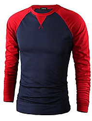 cheap -casual long sleeve raglan baseball crewneck jersey slim fit t shirt navy & red xxs