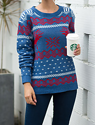 cheap -Women's Men's Stylish Knitted Animal Cardigan Pullover Acrylic Fibers Long Sleeve Sweater Cardigans Crew Neck Fall Winter White Black Blue