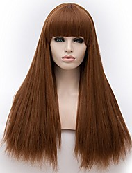 cheap -synthetic yaki long straight synthetic hair wig heat resistant full wig (auburn) neat bang