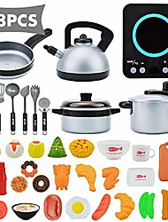 cheap -38 pcs kitchen cooking toy set, kitchen pretend playsets, including induction cooker with light sound, cookware utensils, food playset accessories for toddlers girls boy birthday gift black